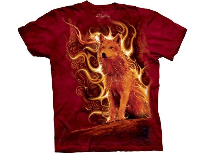 tričko, vlk, oheň, batikované,  potisk, mountain