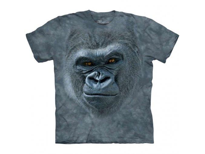 Tričko, gorila, šedé, potisk, batikované, mountain