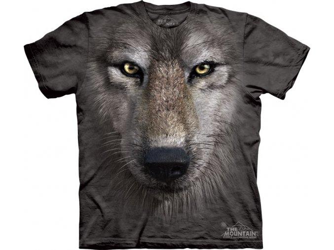 tričko, šedý vlk, 3d, batikované, potisk, mountain