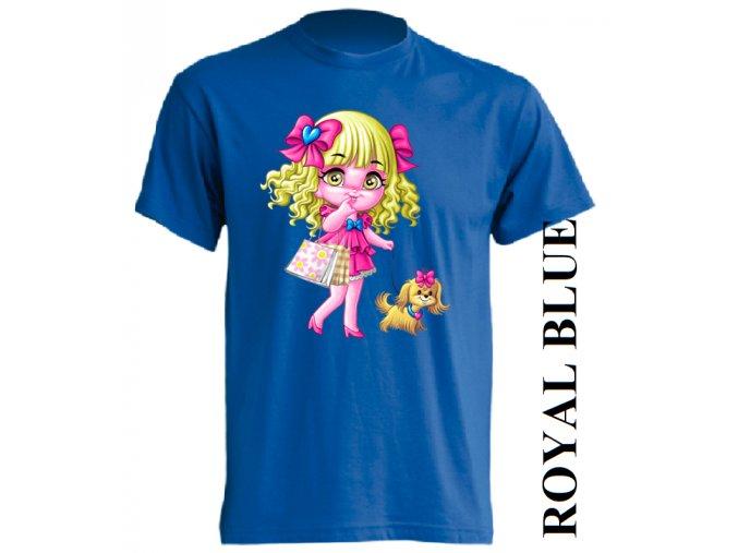 dětské_tričko-modré-potisk-barbie-pejsek