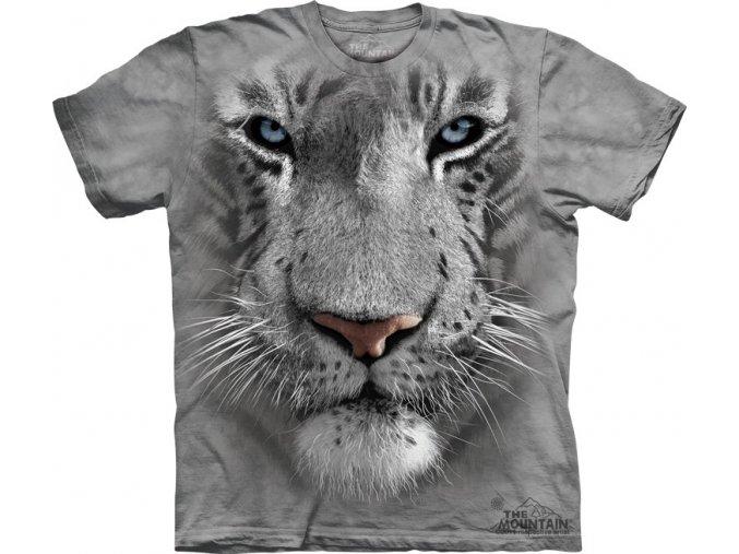 Tričko bílý tygr 3D potisk batikované šedé