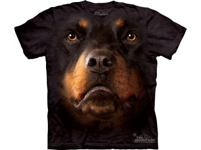tričko, pes, rotvajler, batikované, potisk, 3d