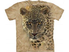 tričko, leopard, béžové, batikované, potisk, mountain