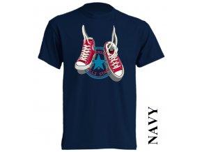 bavlněné-levné-dětské_tričko-tmavě_modré-potisk-tenisky_converse