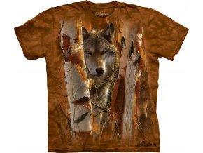 tričko, vlk, strážce, batikované, potisk, mountain