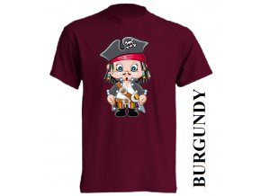 bavlněné-dětské-tričko-vínové-burgundy-pirát