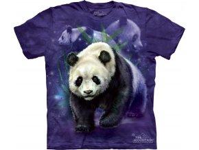 tričko, panda, fialové, batikované,  potisk, mountain