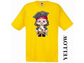 bavlněné-levné-dětské-tričko-žluté-pirát