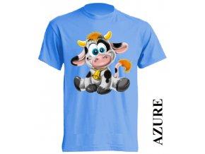 Levné dětské tričko s kravičkou azurové