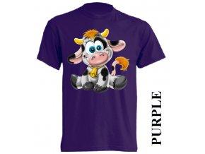 Levné dětské tričko s kravičkou fialové