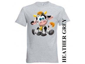 Levné dětské tričko s kravičkou šedé