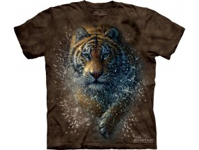 tričko, tygr, útok, batikované, potisk, mountain