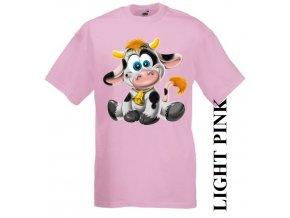 Levné dětské tričko s kravičkou růžové