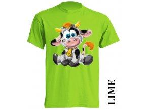 Levné dětské tričko s kravičkou limetkové