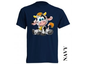 Levné dětské tričko s kravičkou tmavě modré
