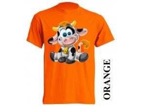 Levné dětské tričko s kravičkou oranžové