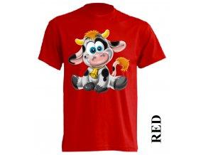 Levné dětské tričko s kravičkou červené