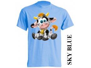 Levné dětské tričko s kravičkou světle modré