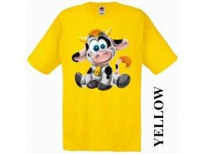 Levné dětské tričko s kravičkou žluté