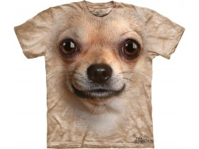 Tričko, pes, čivava, 3d, potisk, batikované