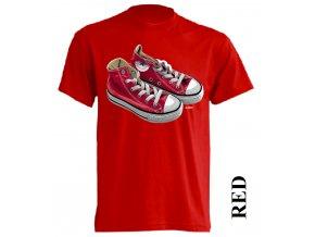 3D tričko s potiskem tenisek Converse červené