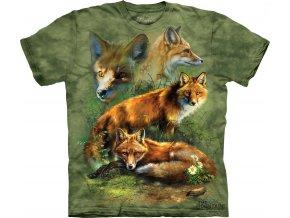 Tričko, liška, myslivecké, potisk, batikované, mountain