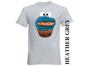 3D dětské vtipné app tričko s potiskem Cookie Monster šedé
