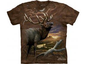 tričko, jelen, myslivecké, potisk, batikované, mountain