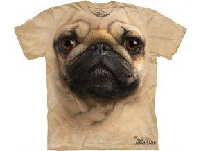 Tričko, pes, mops, potisk, batikované, 3d