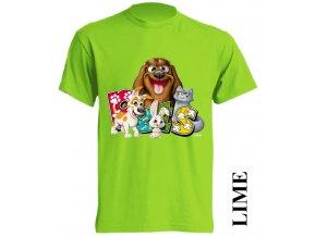 3D dětské tričko app s potiskem zvířátek limetkové