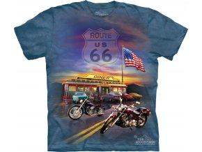 tričko-route 66-motorka-batikované-potisk-chopper