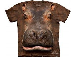 tričko, hroch, 3d, potisk, batikované, mountain