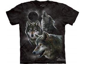 tričko, tři vlci, zatmění měsíce, batikované, potisk, mountain