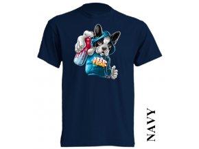 3D dětské tričko app s potiskem pejska tmavě modré