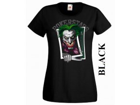 Černé dámské levné tričko s pokerovým Jokerem