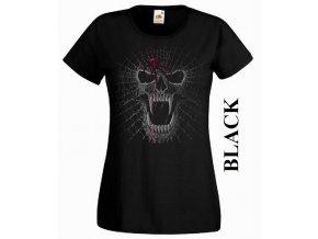 Černé dámské levné tričko s lebkou a pavučinou