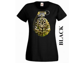 Černé dámské levné vtipné tričko s mozkem a granátem