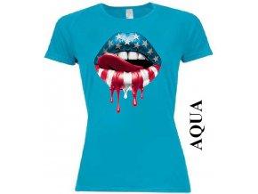 Dámské tričko s potiskem amerických rtů