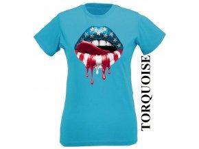 Tyrkysové dámské levné tričko s USA rty
