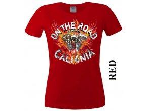 Červené dámské levné chopper tričko s Kalifornií