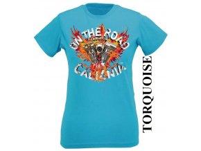 Tyrkysové dámské levné chopper tričko s Kalifornií