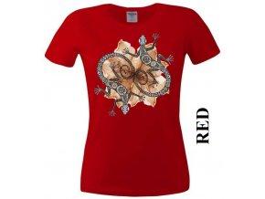 Červené dámské levné tričko s dekorativními ještěrkami