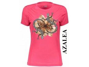 Azalkově červené dámské levné tričko s dekorativními ještěrkami