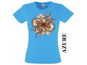Dámské tričko s potiskem dekorativních ještěrek
