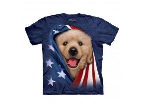 tričko-pes-zlaté štěně-batikované-potisk-usa vlajka
