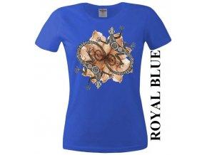Modré dámské levné tričko s dekorativními ještěrkami