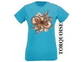 Tyrkysové dámské levné tričko s dekorativními ještěrkami