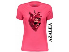 Azalkově červené dámské levné tričko s lebkou v srdci