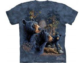 tričko, černí medvědi, třináct, batikované, potisk, mountain