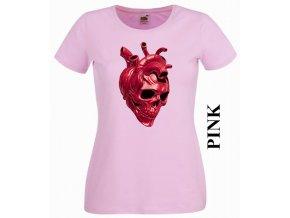 Dámské tričko s potiskem srdce a lebky